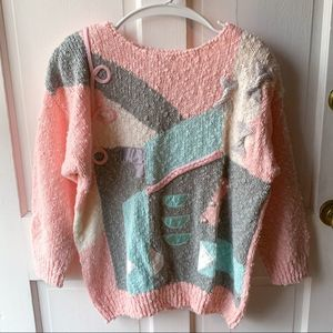 Vintage Pink Blue Abstract Shape Ugly Knit Sweater